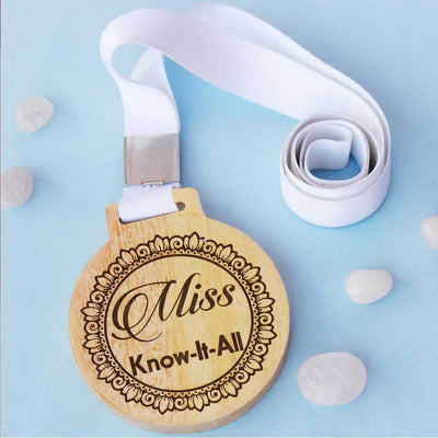 Miss Know It All Wooden Medal With Ribbon - This is a funny employee award and works well as office gifts for colleagues - This is also a funny gift idea for friends
