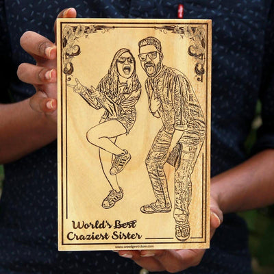 World's Best & Craziest Sister Photo Engraved Wooden Frame. Looking for unique birthday gifts for your sister or rakhi gifts for her? This photo on wood will make the best gift for sister!