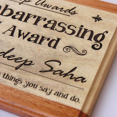 Most Embarrassing Friend Award Wooden Plaque. This Personalized Trophy and Award Plaque Makes Funny Gift Ideas for Friendship Day.