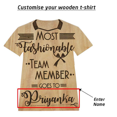 Most Fashionable Team Member Award Plaque In The Shape Of A T-shirt Personalised With A Name.