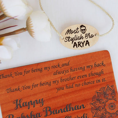 Most Stylish Bro Personalised Rakhi and Raksha Bandhan Greeting Card - This Wooden Rakhi and Wooden Greeting Card Is The Best Raksha Bandhan Gifts for Brother - Buy Rakhi Online India And Wish Your Brother/Sister a Happy Rakhi With Personalized Gifts From The Woodgeek Store.