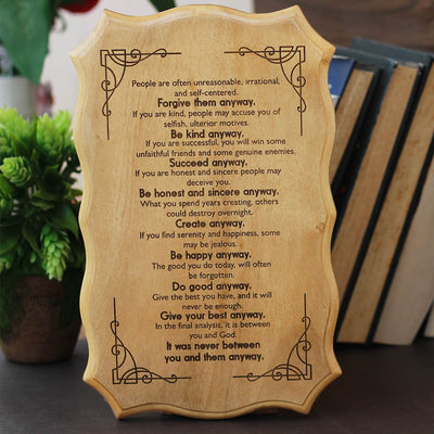 Mother Teresa Do Good Anyway Poem Engraved On Wood - Wooden Signs With Sayings And Poems - Home decor wooden signs With Love Saying - -Wooden Hanging Signs by Woodgeek Store