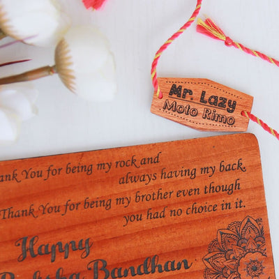 Mr Lazy Personalised Rakhi and Raksha Bandhan Greeting Card. This Wooden Rakhi and Wooden Greeting Card Is The Best Rakhi Gift for Lazy Brothers. Looking For Online gifts For Raksha Bandhan? Buy Fancy Rakhis Online And Personalized Rakhi Gifts For Sisters And Brothers From The Woodgeek Store.