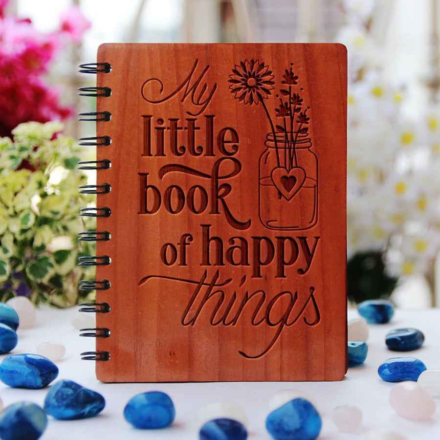 My Little Book of Happy Things Wooden Notebook - Use This Happiness Journal To List The Things That Make You Happy - This Custom Writer's Diary Makes A Perfect Gift For Friends And Loved Ones - Looking For Inspirational Gifts ? Buy More Wooden Motivational Gift Items Online From The Woodgeek Store.