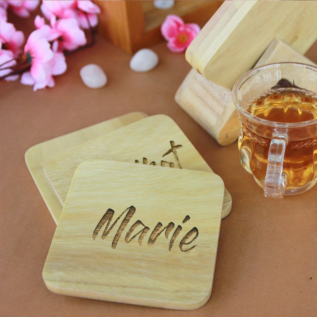 Personalised Name Coasters - Wooden Coaster Set With Holder. Coasters With Names On. These Name Coasters Are Great Home decor Gifts Or Personalized Gifts. Buy Coasters Online At Woodgeek Store.