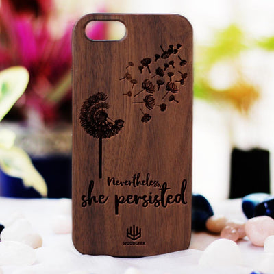 Nevertheless She Persisted Wooden Phone Case for iPhones - Phonecases for Women - Feminist Phone Cases by Woodgeek Store
