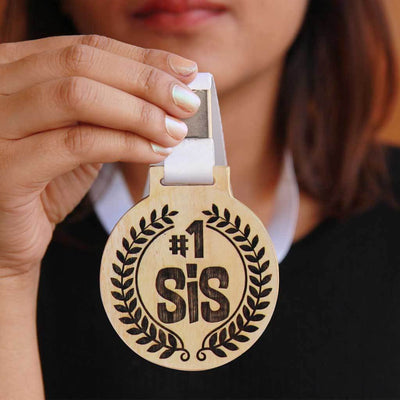 #1 Sis Wooden Medal With Ribbon - An Award For The Best Sister - Best Gifts For Sister