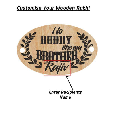 No Buddy Like My Brother Personalised Wooden Rakhi & Greeting Card