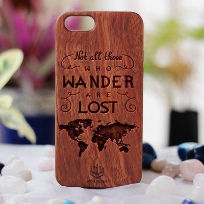 Not All Those Who Wander Are Lost Wooden Phone Case - Travel iPhone Case - Gifts for Travellers - Rosewood Wood iPhone Case by Woodgeek Store