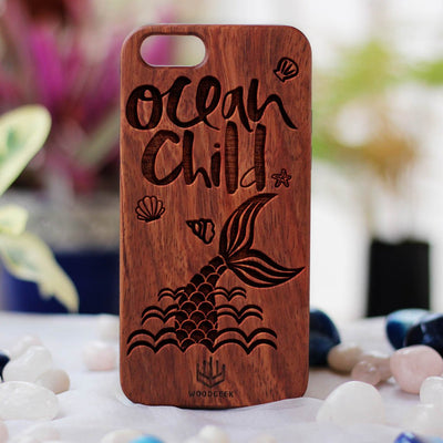 Ocean Child Wooden Phone Case - Rosewood Phone Case - Engraved Phone Case - Travel Phone Case - Woodgeek Store