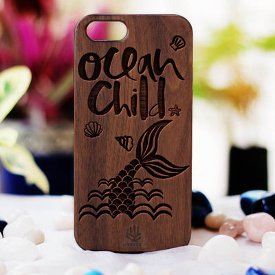 Ocean Child Wooden Phone Case - Walnut Wood Phone Case - Engraved Phone Case - Travel Phone Case - Woodgeek Store