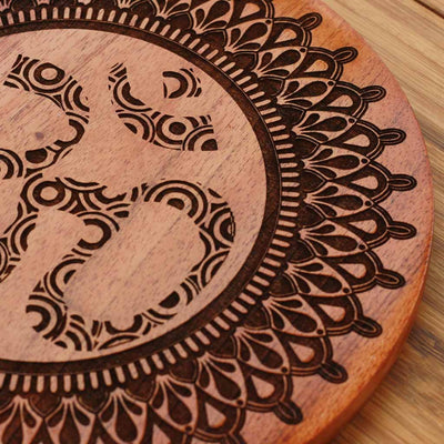 Wood Engraving - Om Wooden Poster by Woodgeek Store for Yoga Lovers - Hindu Symbol Wooden Artwork - Religious & Spiritual Wood Wall Hanging - Buy Wood Wall Art Decor Online