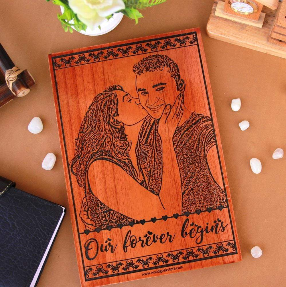 Our Forever Begins Photo-Engraved Wooden Frame. This Wood Engraved Photo Makes Great Wedding Gifts For Husband Or Wedding Gifts For Wife. This Photo On Wood Is One Of The Best Marriage Gifts