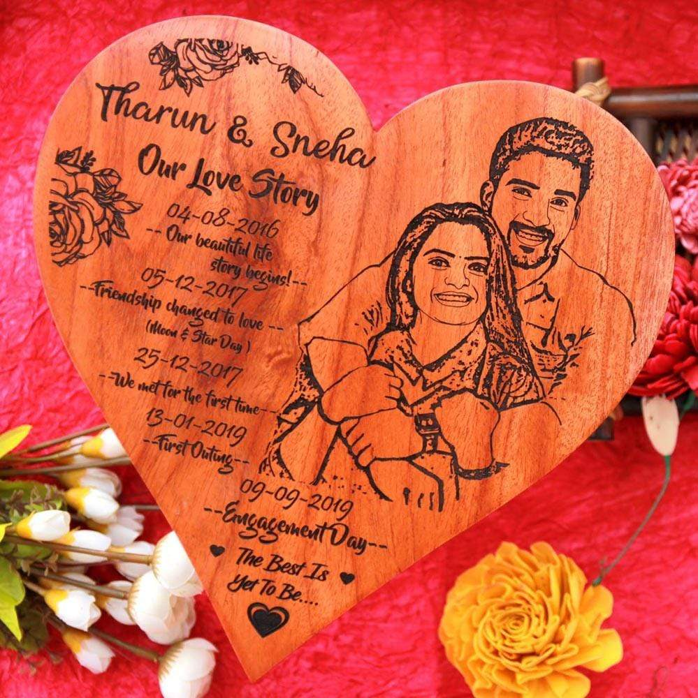 Our Love Story Timeline Heart Photo Frame - Looking for Photo Gifts? This Photo On Wood Is One Of The Best Personalized Engagement Gifts & Romantic Gifts. A Wood Engraved Photo As A Gift For Fiance