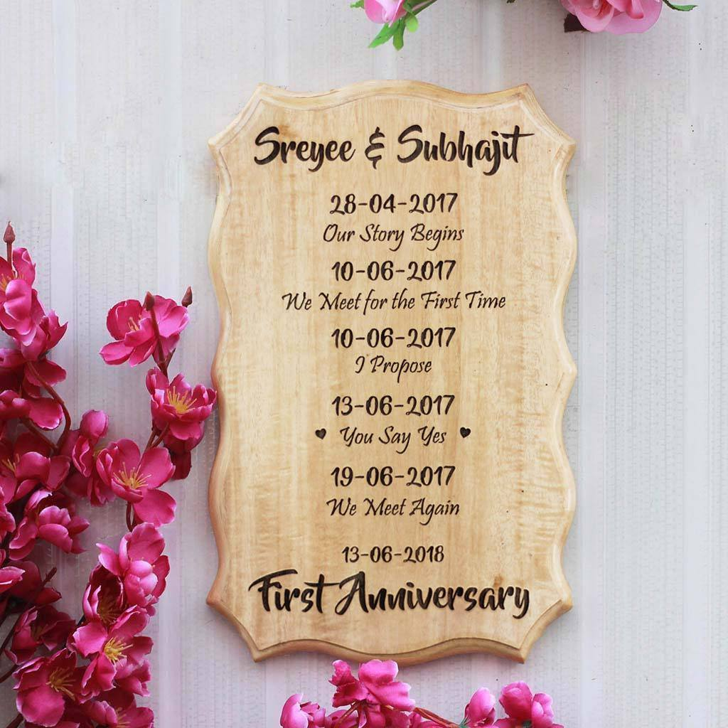 Our Love Story Wedding Idea: Our Love Story Timeline Custom Wood Sign