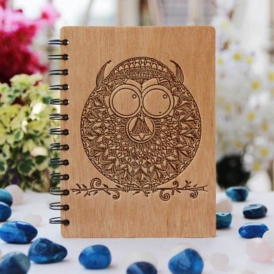The Wise Owl Personalized Wooden Notebook. A Spiral Notebook Engraved With An Owl For Those Who Consider The Owl A Spirit Animal. This Custom Notebook Is The Best Gift for Friends & Family.