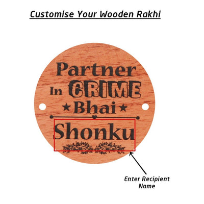Personalised Rakhi With Name - Wooden Rakhi