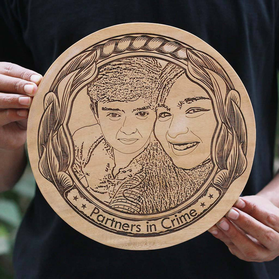 Partners in Crime Wooden Photo Frame - Carved Wooden Poster - Round Wooden Plaque in Birch Wood by Woodgeek Store
