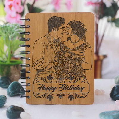 To the handsomest man on earth. The older you get and the greyer your hair is, the hotter you are. Happy Birthday! Personalised Diary With Photo & Birthday Wishes For Husband Engraved On A Wooden Notebook As Birthday Gift.