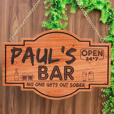 Personalised Bar Signs - Home Bar Sign - Custom Made Wood Signs - Hanging Signs - Woodgeek Store