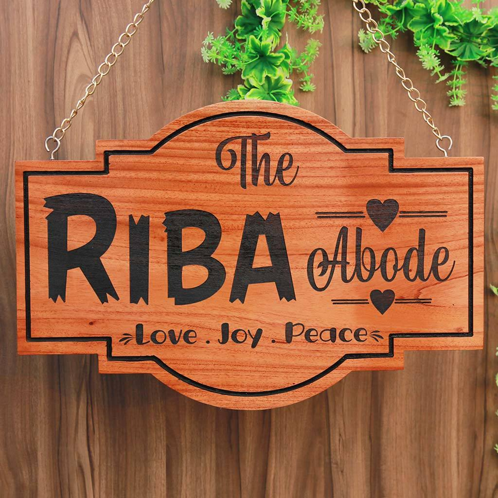 Personalized Abode Home Sign Hanging Wooden Sign