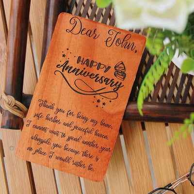 Wooden Greeting Card. Wooden Cards. Anniversary Greeting Cards.