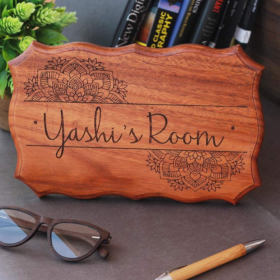 Personalized Wooden Room Signs - Bedroom Door Signs Engraved With A Name by Woodgeek Store
