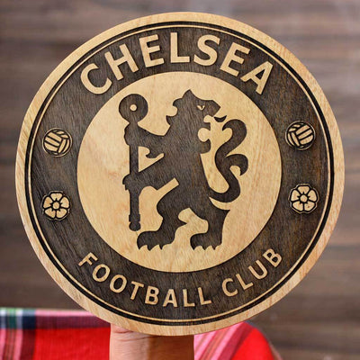 Club Logo Round Poster - Carved Wooden Poster - Gifts for Football Fans by Woodgeek Store