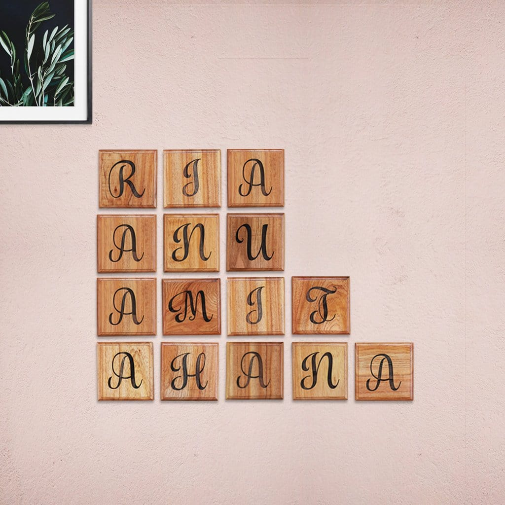 Personalized Family Tree Wooden Crossword Wall Art Home Decor