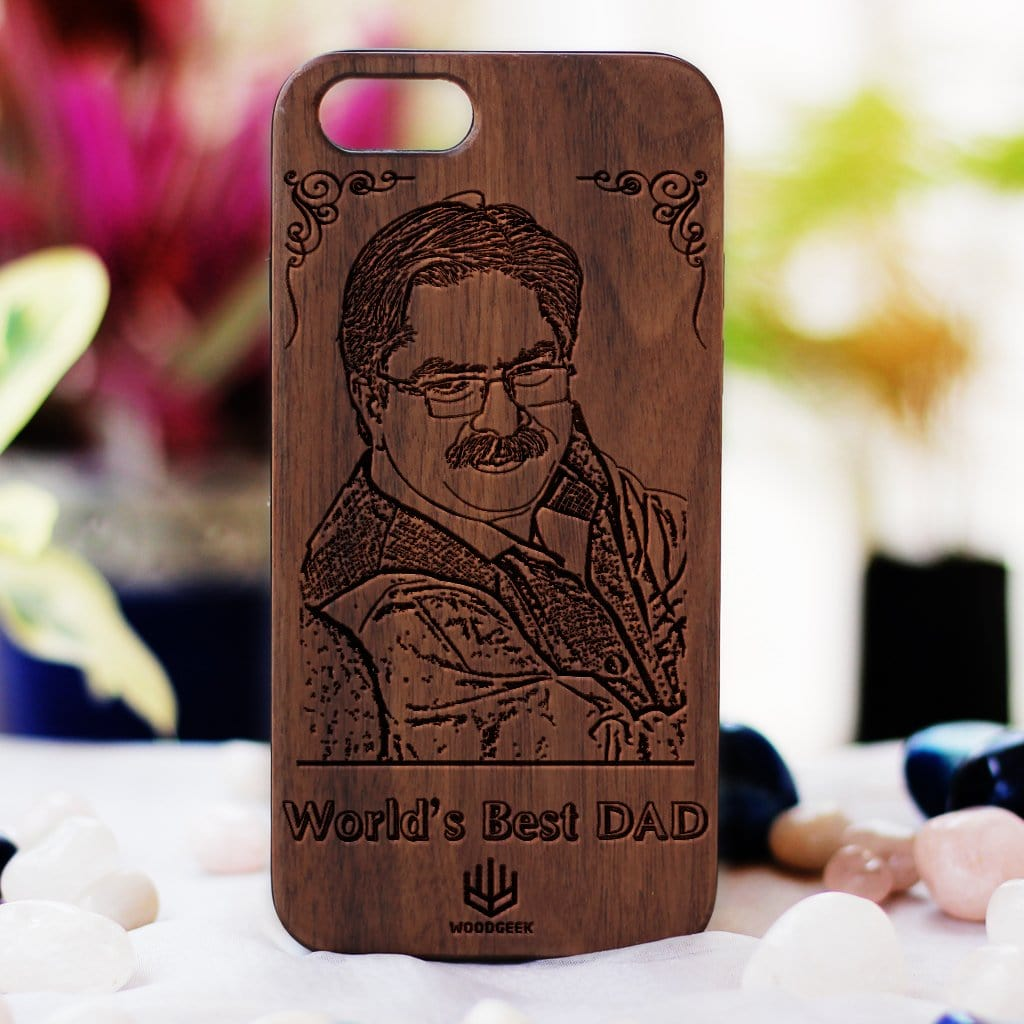 Make Your Own Phone Case - World's Best Dad Phone case - Personalized Phone Case for Dad - Custom Engraved Phone Covers for Fathers - Father's Day Gifts - Walnut Wood Phone Cases from Woodgeek Store