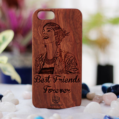 Design Your Own Phone Case - Custom Engraved Phone Cases for Friends - Photo Engraved Phone Cases - Friendship Phone case - Personalized Phone Case for Friends - Friendship Day Gifts - Personalized Birthday Gifts - Rosewood Phone Cases from Woodgeek Store