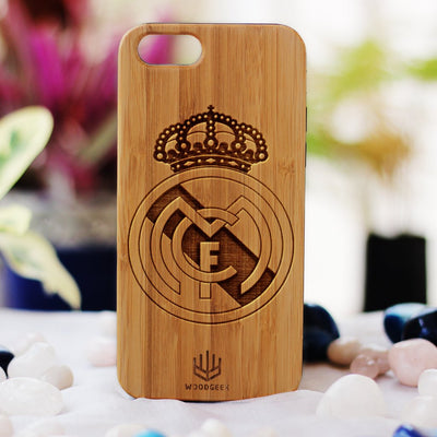 Create your own phone case at Woodgeek Store - Real Madrid Wooden Phone Case - Custom Engraved Phone Case - Wooden Phone Covers for Sports Geeks