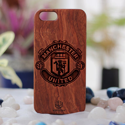 Create your own phone case at Woodgeek Store - Manchester United Wooden Phone Case - Custom Engraved Phone Case - Wooden Phone Covers for Sports Geeks