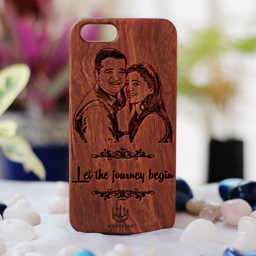 Photo Engraved Phone Case - Design Your Own Phone Case - Romantic Phone Cases - Wooden Phone Covers for Boyfriend, Girlfriend, Husband or Wife - Best Romantic Gifts from Woodgeek Store - Rosewood Phone Case