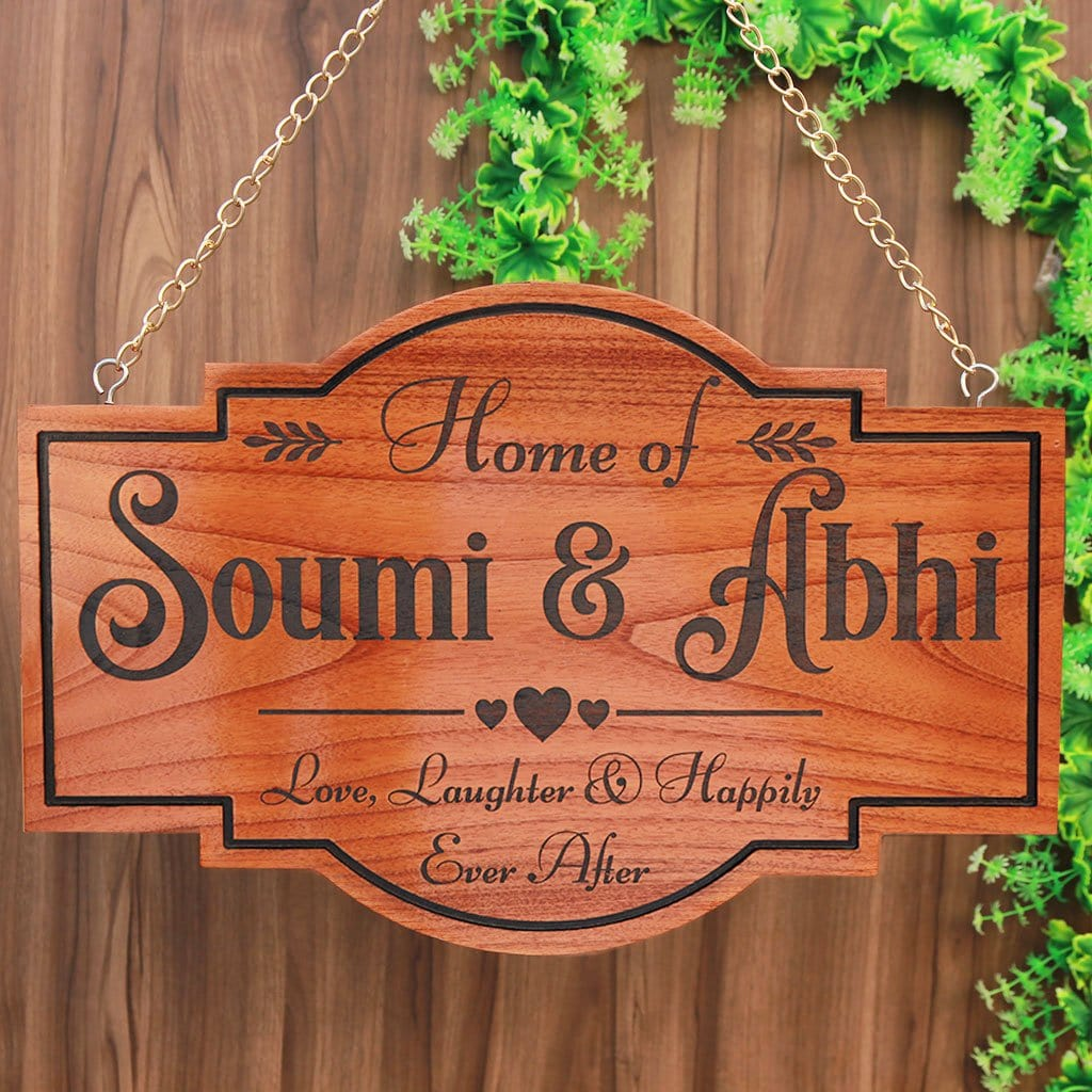 Wooden Name Signs For Couples - Personalized Home Sign for Couples - Hanging Wooden Sign - Love, Laughter & Happily Ever After - House Name Plate - House Number Plates - Personalised House Signs - Wooden Sign - Woodgeek Store