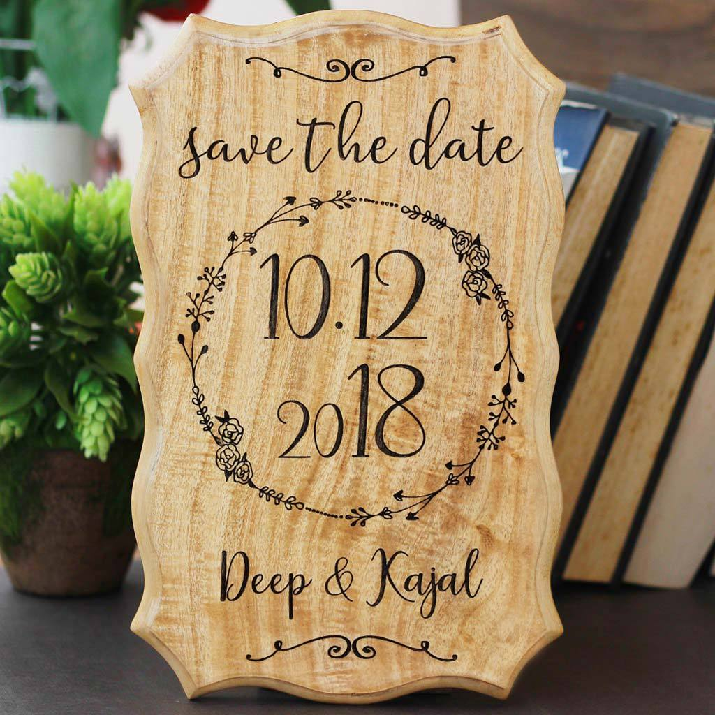Wooden Wedding Signs.Personalized Save The Date Wood Engraved Sign