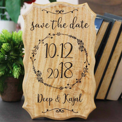 Wood Carved Signs - Best Wedding Decor - Wooden Save The Dates for Weddings - Personalized Wooden Wedding Signs in India by Woodgeek Store