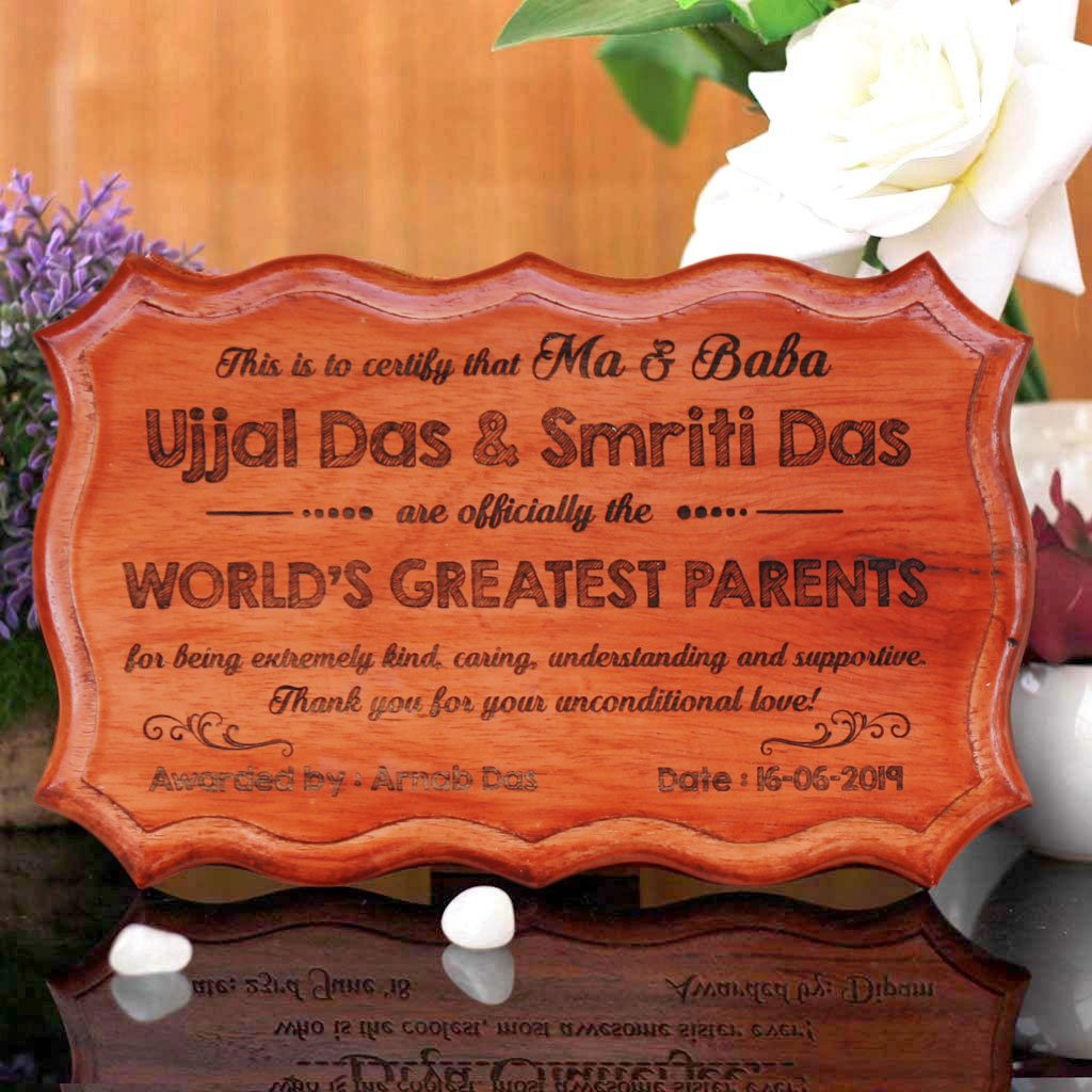Personalized World's Greatest Parents Certificate - These Unique Award Certificates Make The Best Gifts For Parents - Buy More Custom Wooden Certificates And Personalized Gifts For Parents From The Woodgeek Store