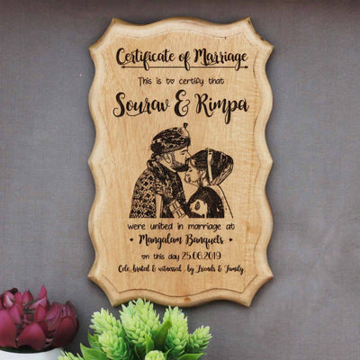 A Photo Engraved Wooden Marriage Certificate Will Make Great Wedding Gifts. This Custom Certificate Of Marriage Is The Best Personalized Wedding Gift. This Is One Of The Best Romantic Gifts for Husband And Wife.  Buy More Wooden Picture Frame Certificates Online by Woodgeek Store