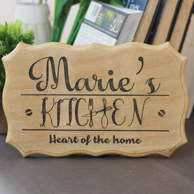 Custom Kitchen Wood Sign | Personalized Wooden Kitchen Name Signs | Large Wood House Signs by Woodgeek Store