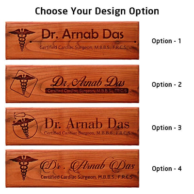 Office Desk & Door Name Plates for Doctors - Personalized Name Signs For Doctors - Gifts For Doctors with Engraved Doctor's Symbol by Woodgeek Store