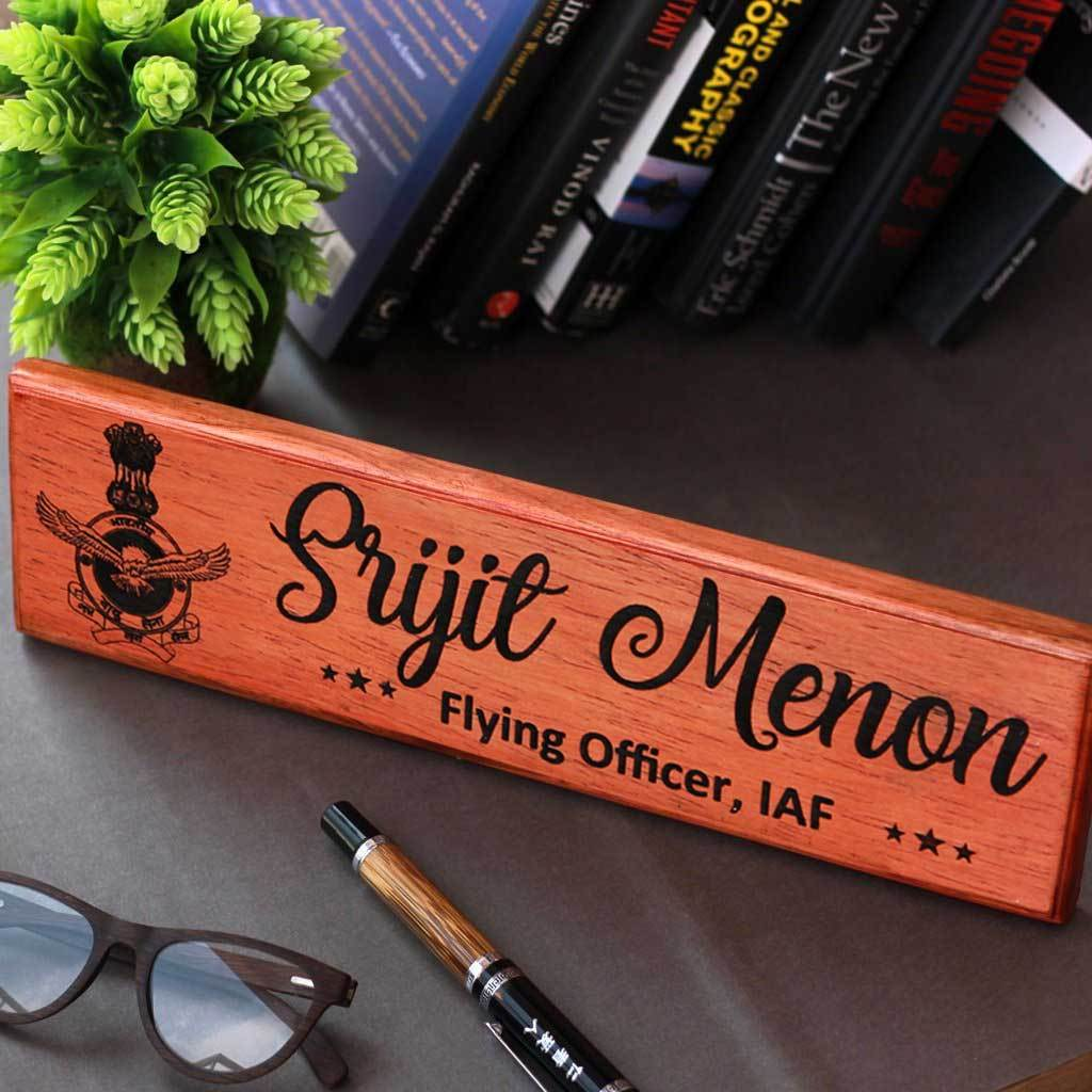Wooden Name Plates For Air Force Officers. This Name Board Can Be Used As A Desk Name Plate & Door Name Plate. These Custom Name Plates are the best air force gifts, gifts for air force pilots or air force retirement gifts.