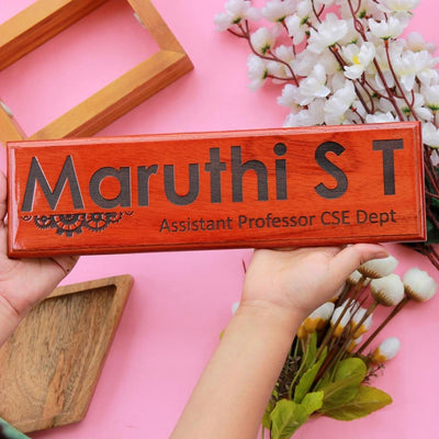 Personalized Wooden Nameplates For Teachers And Professors - This Custom Name Sign Makes One Of The Best Gifts for Teachers on Teacher's Day - Looking For Birthday Gifts For Teachers? These Desk and Door Name Signs Make The Best Teacher Appreciation Gifts by Woodgeek Store.