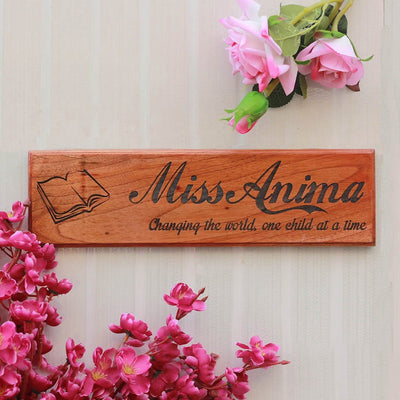 Personalized Wooden Nameplates for Teachers and Professors - Gifts for Teachers on Teacher's Day - Desk and Door Name Signs for Office by Woodgeek Store