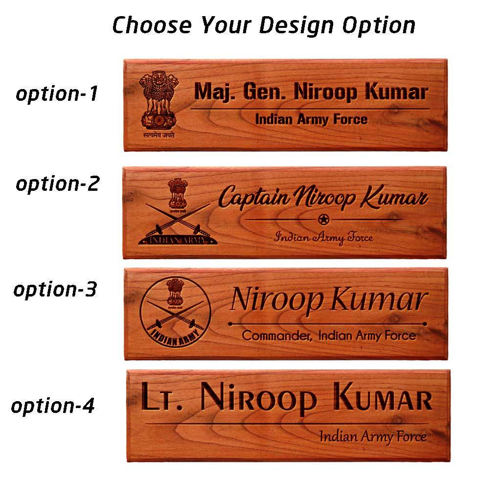 Personalized Wooden Name Plates for Army Officers