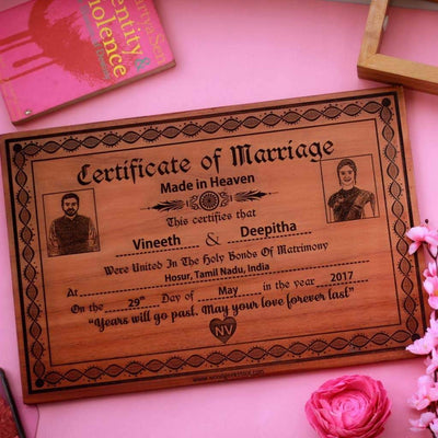 Photo Engraved Wooden Marriage Certificate Best Anniversary Gifts