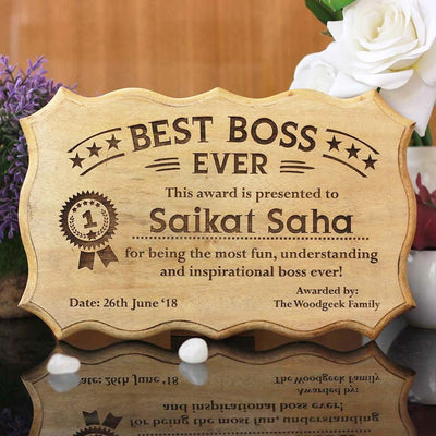 Personalized Best Boss Ever Certificate - Best Boss Award - Unique Gifts for Boss - Custom Wooden Certificates by Woodgeek Store
