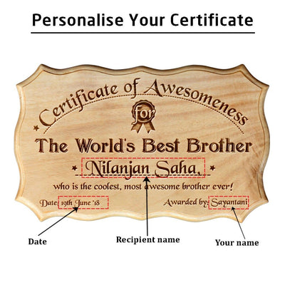 Wooden Certificate of Awesomeness for World's Best Brother