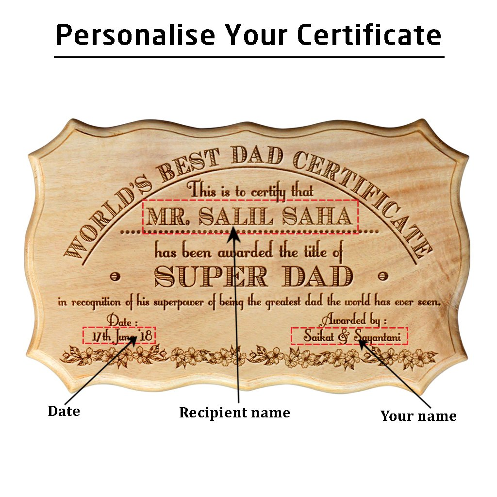 custom world s dad wooden certificate father s day gifts for dad