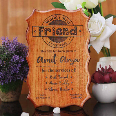 Personalized World's Best Friend Certificate - Greatest Friend Award Certificates - Unique Gifts for Friends - Friendship Day Gifts - Custom Wooden Certificates by Woodgeek Store